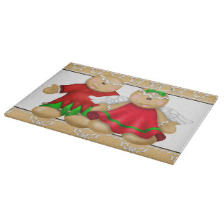 Cute Christmas gingerbread glass cutting board
