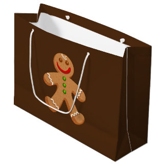 Cute Christmas Gingerbread Large Gift Bag