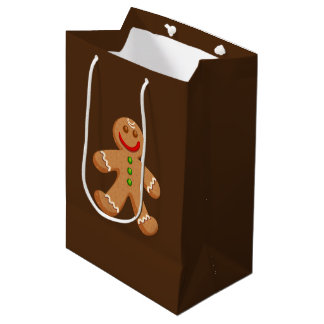 Cute Christmas Gingerbread Medium Gift Bag