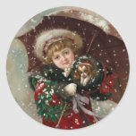 Cute Christmas Girl in snow Classic Round Sticker