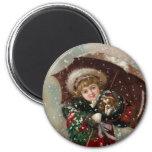 Cute Christmas Girl in snow Fridge Magnet