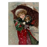 Cute Christmas Girl in snow Greeting Card