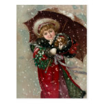 Cute Christmas Girl in snow Postcard