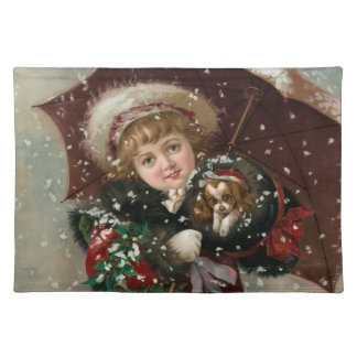 Cute Christmas Girl in snow with dog Placemat