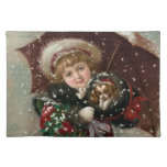 Cute Christmas Girl in snow with dog Placemats