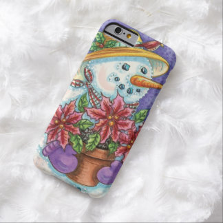 Cute Christmas Girl Snowman with Poinsettia Barely There iPhone 6 Case