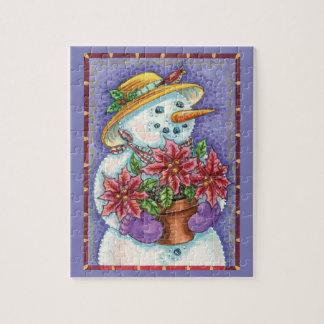 Cute Christmas Girl Snowman with Poinsettia Jigsaw Puzzle