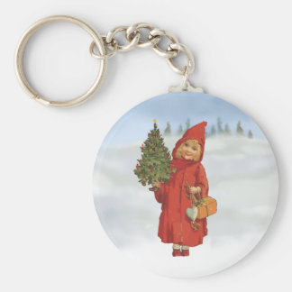 Cute Christmas girl with xmas tree Basic Round Button Key Ring
