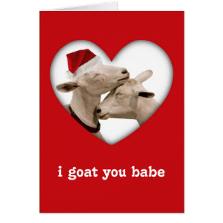 Cute Christmas Goat Couple Greeting Card