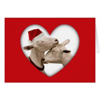 Cute Christmas Goat Couple Card