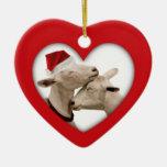 Cute Christmas Goat Couple Ceramic Heart Decoration