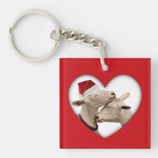 Cute Christmas Goat Couple Key Ring