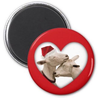 Cute Christmas Goat Couple 6 Cm Round Magnet