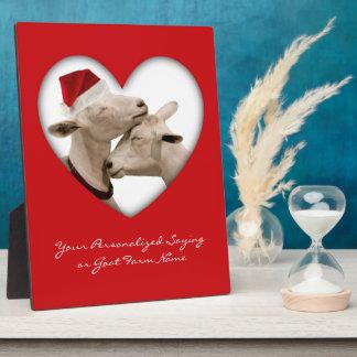 Cute Christmas Goat Couple Plaque