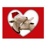 Cute Christmas Goat Couple Postcard