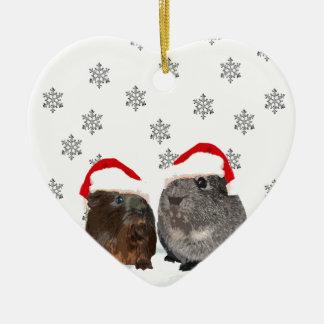Cute Christmas Guinea pigs in Santa Hats Christmas Ornament