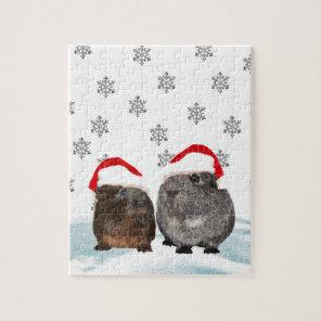 Cute Christmas Guinea pigs in Santa Hats Jigsaw Puzzle
