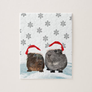Cute Christmas Guinea pigs in Santa Hats Jigsaw Puzzle