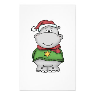 Cute Christmas Hippo Design Personalized Stationery