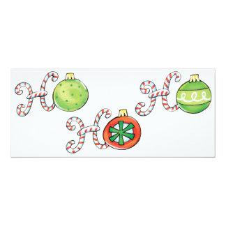 Cute Christmas Ho Ho Ho, Candy Canes Ornaments 10 Cm X 24 Cm Invitation Card