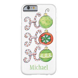 Cute Christmas Ho Ho Ho, Candy Canes Ornaments Barely There iPhone 6 Case