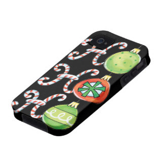 Cute Christmas Ho Ho Ho, Candy Canes Ornaments iPhone 4/4S Cases