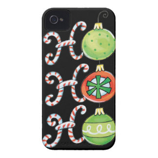Cute Christmas Ho Ho Ho, Candy Canes Ornaments iPhone 4 Cover