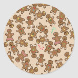 Cute Christmas Holiday Gingerbread Men Cookies Round Sticker
