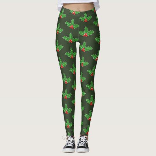 Cute Christmas Holiday holly leaf print leggings
