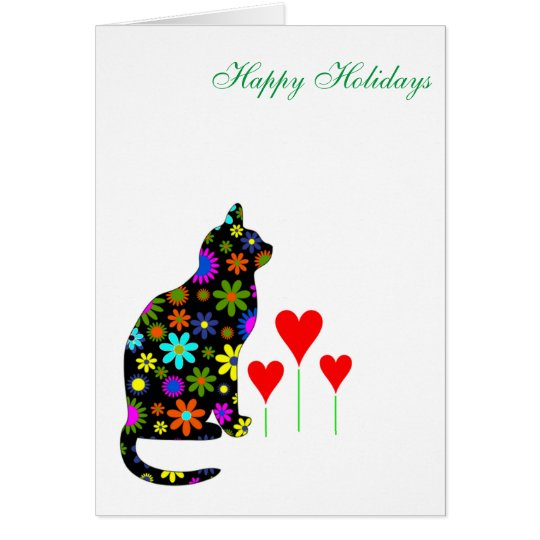 Cute Christmas Holiday Retro Floral Cat & Hearts