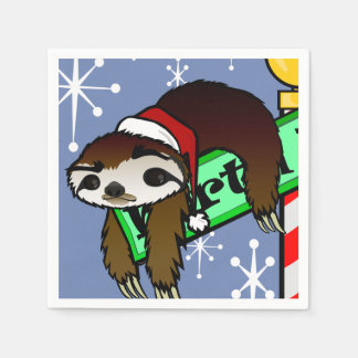 CUTE CHRISTMAS HOLIDAY SANTA SLOTH PAPER NAPKINS