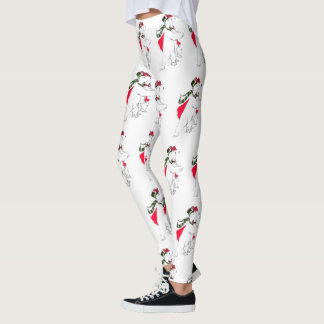 Cute Christmas Holiday Skating Dancing Polar Bears Leggings
