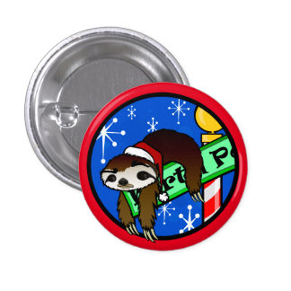 CUTE CHRISTMAS HOLIDAY SLOTH ROUND BUTTON