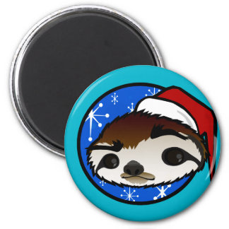 CUTE CHRISTMAS HOLIDAY SLOTH ROUND MAGNET