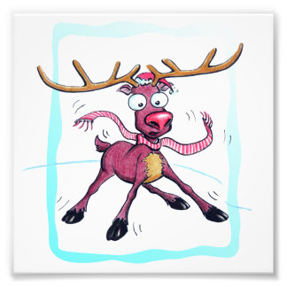 Cute Christmas holidays deer on ice cartoon Photo Print