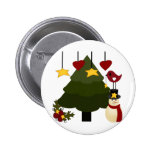 Cute Christmas Holidays Tree Snowman Stars Bird Pin