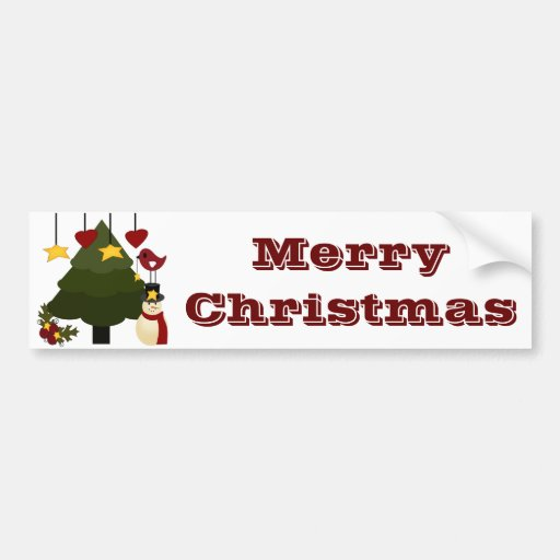 Cute Christmas Holidays Tree Snowman Stars Bird Bumper Stickers