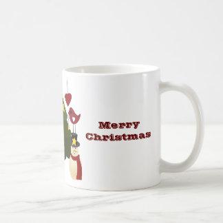 Cute Christmas Holidays Tree Snowman Stars Bird Coffee Mug
