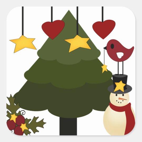Cute Christmas Holidays Tree Snowman Stars Bird Square Sticker