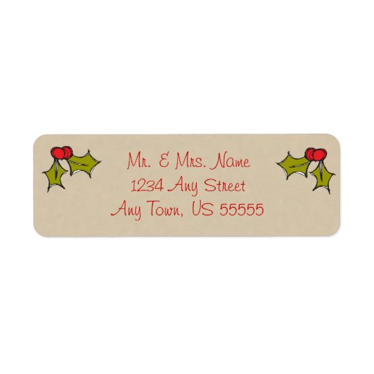 Cute Christmas Holly Address Labels