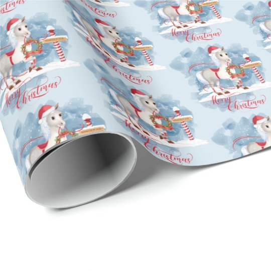 Cute Christmas Horse at North Pole Wrapping Paper