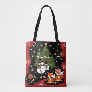 Cute Christmas illustration with custom text Tote Bag