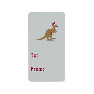 Cute Christmas Kangaroos Address Label
