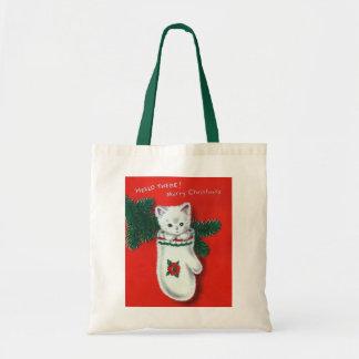 Cute Christmas Kitten Canvas Bags