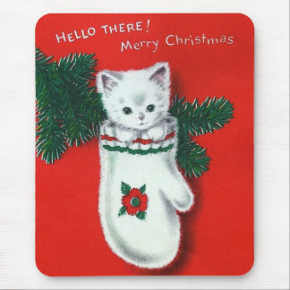 Cute Christmas Kitten Mouse Pad