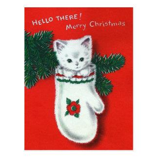 Cute Christmas Kitten Postcard