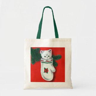 Cute Christmas Kitten Budget Tote Bag