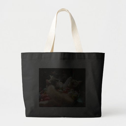 Cute Christmas Kittens in Love on Xmas Eve Canvas Bag