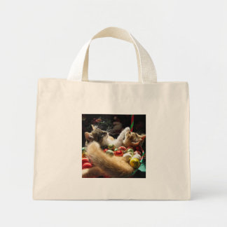 Cute Christmas Kittens in Love on Xmas Eve Mini Tote Bag