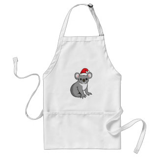 Cute Christmas Koala in Santa Hat Drawing Apron